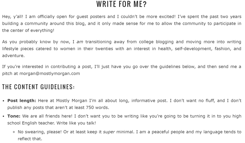 How to write content guidelines for guest posters on your blog.